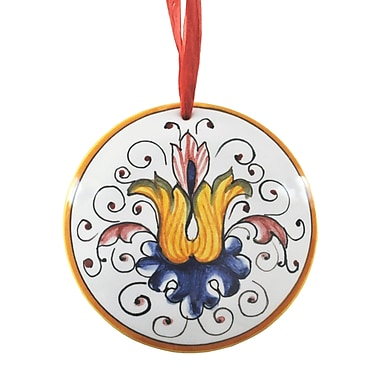 The Holiday Aisle Hand Formed and Painted Ceramic Christmas Hanging Round Shaped Ornament