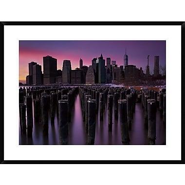East Urban Home 'Manhattan Glow' Framed Photographic Print; 30'' H x 30'' W