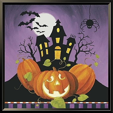 East Urban Home 'Happy Haunting House on Pumpkins' Framed Graphic Art Print; 18'' H x 18'' W
