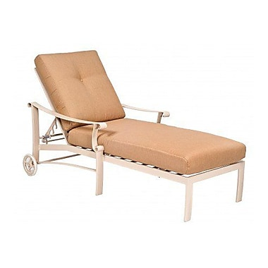Woodard Bungalow Adjustable Chaise Lounge w/ Cushion; Paris Blush
