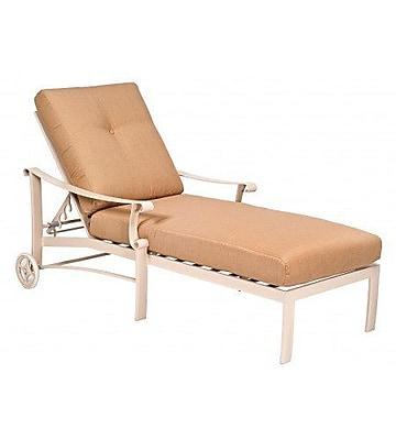 Woodard Bungalow Adjustable Chaise Lounge w/ Cushion; Brisa Distressed Chamois