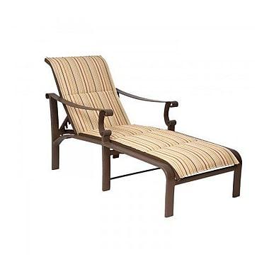 Woodard Bungalow Padded Sling Adjustable Chaise Lounge; Platinum