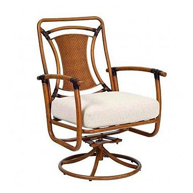 Woodard Glade Isle Formal Rocker Swivel Patio Dining Chair w/ Cushion; Summit Peony