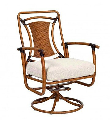 Woodard Glade Isle Formal Rocker Swivel Patio Dining Chair w/ Cushion; Canvas Navy