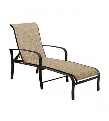Woodard Fremont Sling Adjustable Chaise Lounge; Augustine Gravel