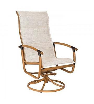 Woodard Glade Isle Padded Sling High Back Rocker Swivel Patio Dining Chair; Garnet Flex Sling