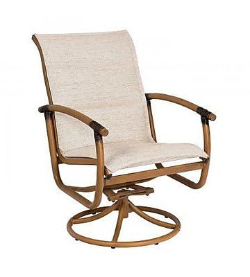 Woodard Glade Isle Padded Sling Rocker Swivel Patio Dining Chair; Augustine Amethyst