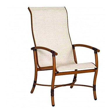 Woodard Glade Isle Sling High Back Patio Dining Chair; Caramel