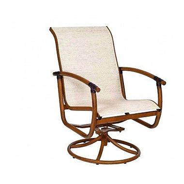 Woodard Glade Isle Sling Rocker Swivel Patio Dining Chair; Garnet Flex Sling