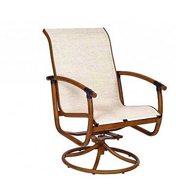 Woodard Glade Isle Sling Rocker Swivel Patio Dining Chair; Elegance