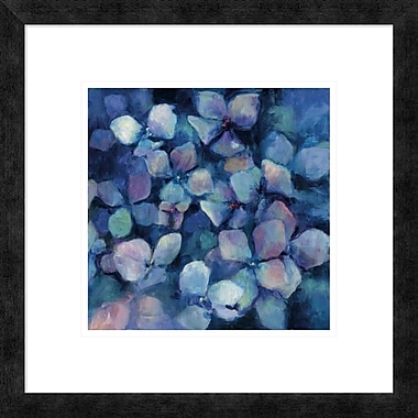 East Urban Home 'Midnight Blue Hydrangeas' Framed Print; 12'' H x 12'' W