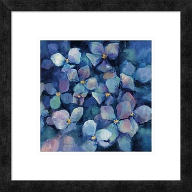 East Urban Home 'Midnight Blue Hydrangeas w/ Gold' Framed Print; 12'' H x 12'' W