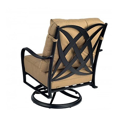 Woodard Apollo Swivel Rocker Patio Chair w/ Cushions; Axel Smoke