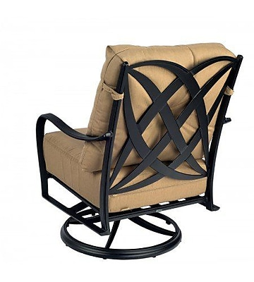 Woodard Apollo Swivel Rocker Patio Chair w/ Cushions; Canvas Palm