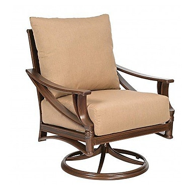Woodard Arkadia Swivel Rocking Patio Chair w/ Cushions; Canvas Iris