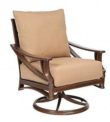 Woodard Arkadia Swivel Rocking Patio Chair w/ Cushions; Canvas Palm