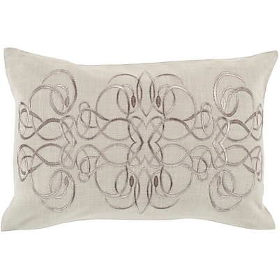 Charlton Home Capanagh 100pct Linen Lumbar Pillow Cover; Neutral/Gray
