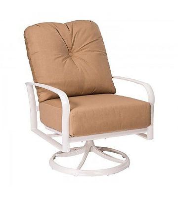 Woodard Fremont Swivel Rocking Patio Chair w/ Cushions; Brisa Distressed Chamois