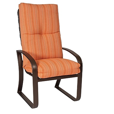 Woodard Cayman Isle High-Back Patio Dining Chair w/ Cushion; Brisa Distressed Dove Gray