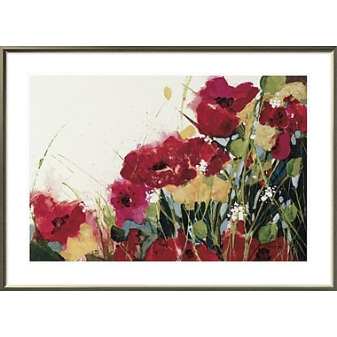 East Urban Home 'Poppies and Flowers on White' Framed Print; 24'' H x 36'' W