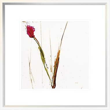 East Urban Home 'Pink Buds I on White' Framed Print; 12'' H x 12'' W