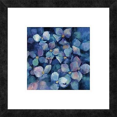 East Urban Home 'Midnight Blue Hydrangeas w/ Gold' Framed Print; 10'' H x 10'' W