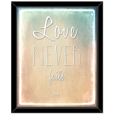 Bungalow Rose 'Love Never Fails' Framed Textual Art on Glass
