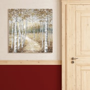 Alcott Hill 'Birch Path I Square Gold' Acrylic Painting Print on Gallery Wrapped Canvas