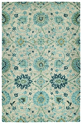 Bungalow Rose Toshiro Hand Tufted Wool Turquoise Area Rug; 8' x 10'