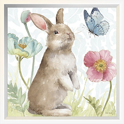 East Urban Home 'Spring Softies Bunnies II' Framed Print; 12'' H x 12'' W