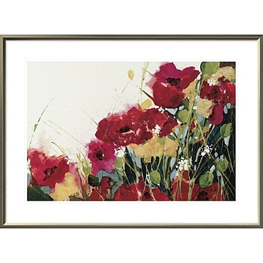 East Urban Home 'Poppies and Flowers on White' Framed Print; 20'' H x 30'' W