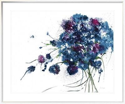 East Urban Home 'Blue Bouquet' Framed Print; 28'' H x 35'' W