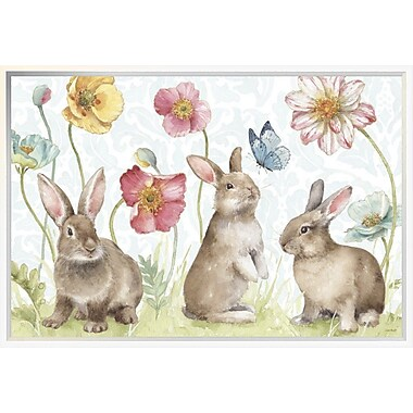East Urban Home 'Spring Softies Bunnies I' Framed Print; 20'' H x 30'' W