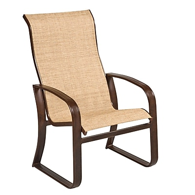 Woodard Cayman Isle Sling High-Back Patio Dining Chair; Augustine Nutmeg
