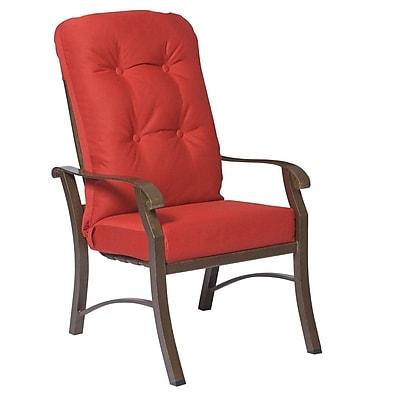Woodard Cortland High-Back Patio Dining Chair w/ Cushion; Canvas Bird's Eye