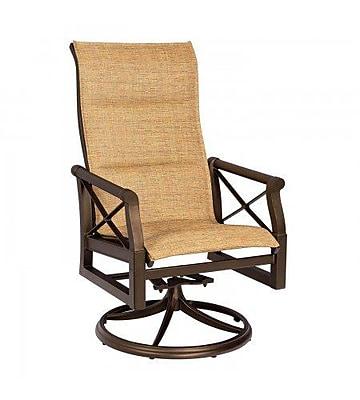 Woodard Andover Padded Sling High-Back Swivel Rocking Chair; Augustine Nutmeg
