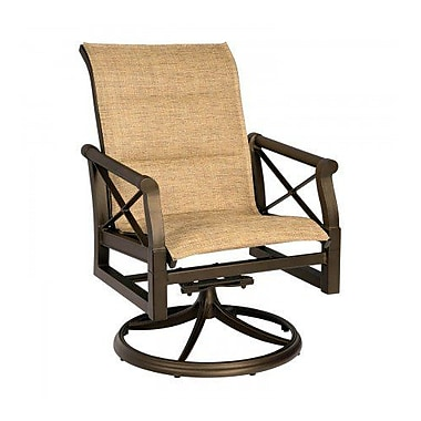 Woodard Andover Padded Sling Swivel Rocking Chair; Chocolate Flex Sling