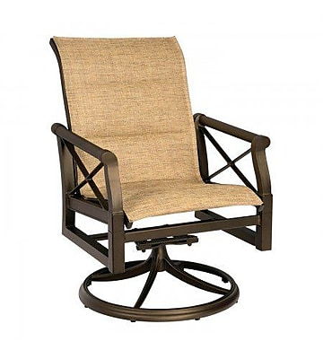 Woodard Andover Padded Sling Swivel Rocking Chair; Jet