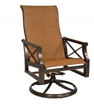 Woodard Andover Sling High-Back Swivel Rocking Chair; Porcelain