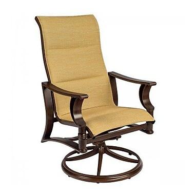 Woodard Arkadia Padded Sling High-Back Swivel Rocking Chair; Platinum