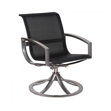 Woodard Metropolis Sling Swivel Patio Dining Chair; Charcoal Flex Sling