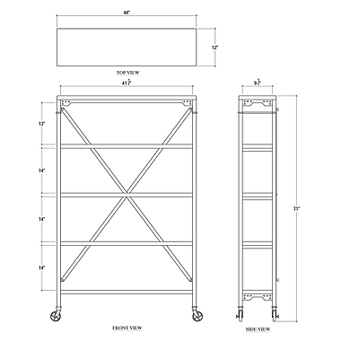 Bramble Co Urban Mercantile Rack 71'' Etagere Bookcase