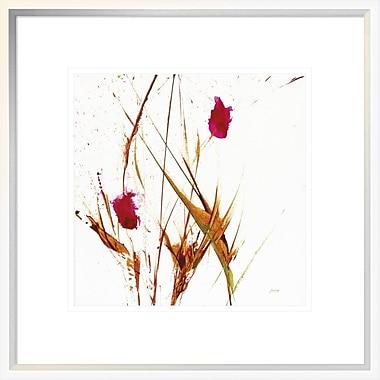 East Urban Home 'Pink Buds II v2 on White' Framed Print; 12'' H x 12'' W