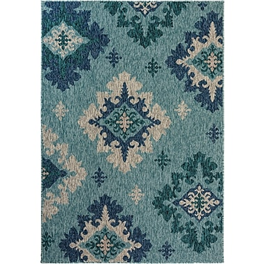 Bungalow Rose Goldfield Damask Turquoise Indoor/Outdoor Area Rug; 4' W x 5'7'' L