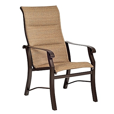 Woodard Cortland Padded Sling High-Back Patio Dining Chair; Caramel