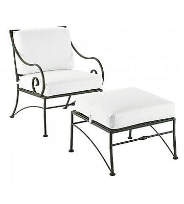 Woodard Sheffield Patio Chair w/ Cushions; Brisa Distressed Chamois