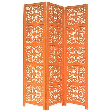 One Allium Way 54'' x 70'' Goddard 3 Panel Room Divider; Orange