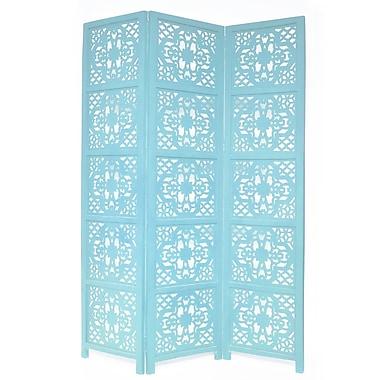 One Allium Way 54'' x 70'' Goddard 3 Panel Room Divider; Turquoise