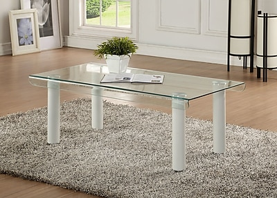 Orren Ellis Len Glass Coffee Table; White