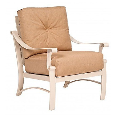 Woodard Bungalow Stationary Patio Chair w/ Cushions; Canvas Chestnut